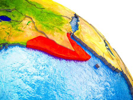 Somalia Highlighted on 3D Earth model with water and visible country borders. 3D illustration.