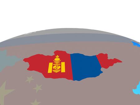 Mongolia with national flag on political globe. 3D illustration. Stock Photo