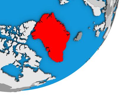 Greenland on blue political 3D globe. 3D illustration.