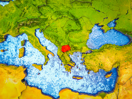 Macedonia on model of 3D Earth with blue oceans and divided countries. 3D illustration.