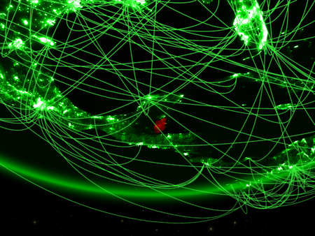 Belize on green model of planet Earth with network representing green age, travel and communication. 3D illustration.