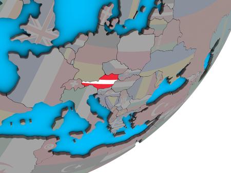 Austria with national flag on blue political 3D globe. 3D illustration. Standard-Bild - 111193920