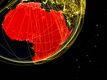 Africa on dark Earth with network. Concept of connectivity. May represent air traffic, internet or telecommunications. 3D illustration. Stock Photo