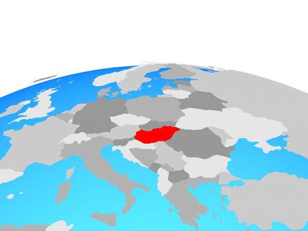 Hungary on political globe. 3D illustration.