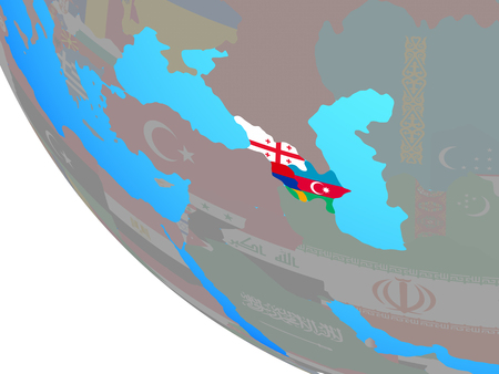 Caucasus region with national flags on simple globe. 3D illustration. Reklamní fotografie