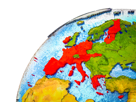 Eurozone member states on 3D Earth model with visible country borders. 3D illustration. Stock Photo