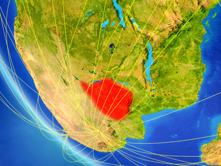 Zimbabwe on planet Earth from space with network. Concept of international communication, technology and travel. 3D illustration.