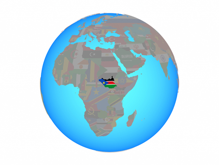 South Sudan with national flag on blue political globe. 3D illustration isolated on white background.