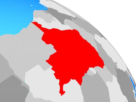 Dem Rep of Congo on simple blue political globe. 3D illustration. Banco de Imagens