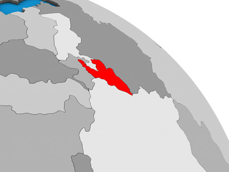 Kyrgyzstan on simple blue political 3D globe. 3D illustration.