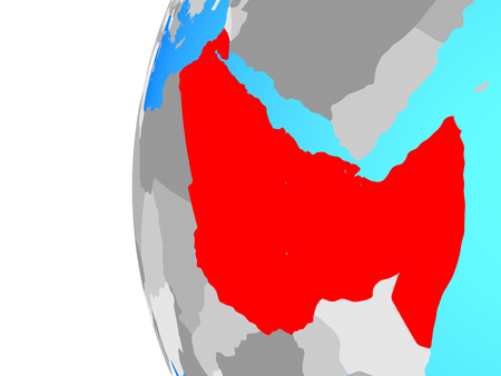 Northeast Africa on blue political globe. 3D illustration. Stockfoto