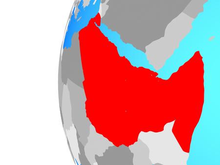 Northeast Africa on blue political globe. 3D illustration. Stock Photo