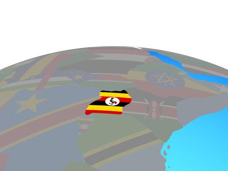 Uganda with national flag on political globe. 3D illustration. Stockfoto