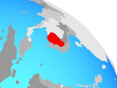 Cambodia on simple blue political globe. 3D illustration. Stock Photo
