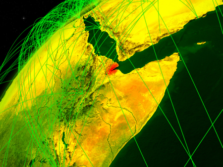 Djibouti on model of green planet Earth with international networks. Concept of digital communication and technology. 3D illustration.