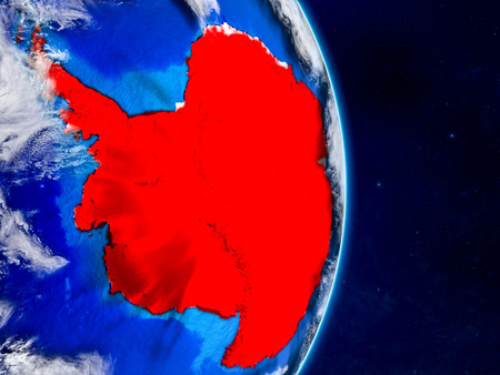 Antarctica on planet Earth with networks. Extremely detailed planet surface and clouds. 3D illustration.