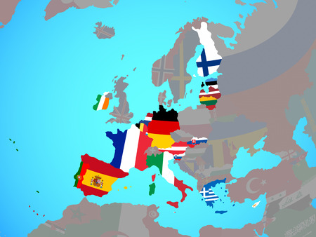Eurozone member states with national flags on blue political globe. 3D illustration. Stock Photo