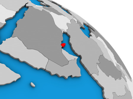 Qatar on simple blue political 3D globe. 3D illustration.