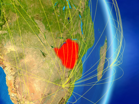 Zimbabwe on planet Earth with network. Concept of connectivity, travel and communication. 3D illustration.