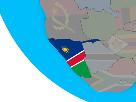 Namibia with embedded national flag on simple 3D globe. 3D illustration.