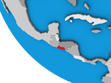 El Salvador on simple 3D globe. 3D illustration.