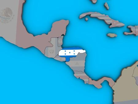 Honduras with embedded national flag on blue political 3D globe. 3D illustration.