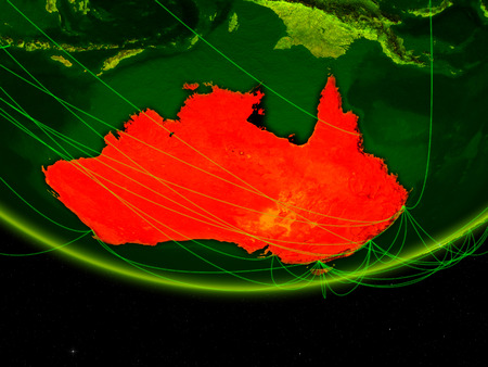 Australia on green model of planet Earth with network representing digital age, travel and communication. 3D illustration. Stock Photo