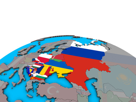 Eastern Europe with embedded national flags on political 3D globe. 3D illustration.