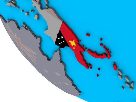 Papua New Guinea with embedded national flag on simple 3D globe. 3D illustration. Stock Photo