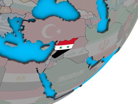 Syria with national flag on blue political 3D globe. 3D illustration.