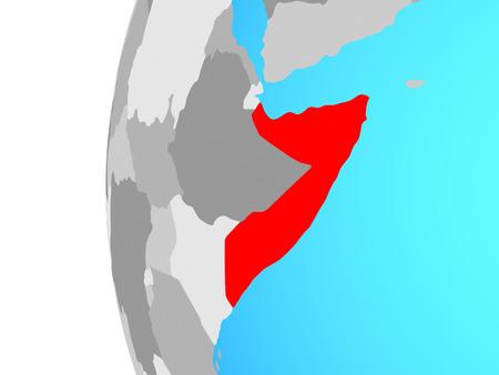 Somalia on blue political globe. 3D illustration. Stockfoto