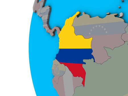 Colombia with national flag on blue political 3D globe. 3D illustration. Reklamní fotografie - 111192272