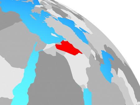 Syria on simple blue political globe. 3D illustration. Stock Photo