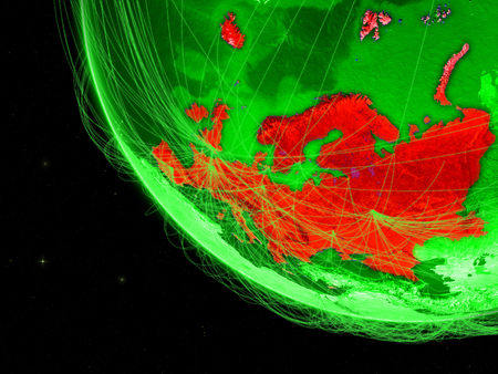 Europe on green Earth with network. Concept of connectivity, internet or telecommunications. May also represent air traffic. 3D illustration.