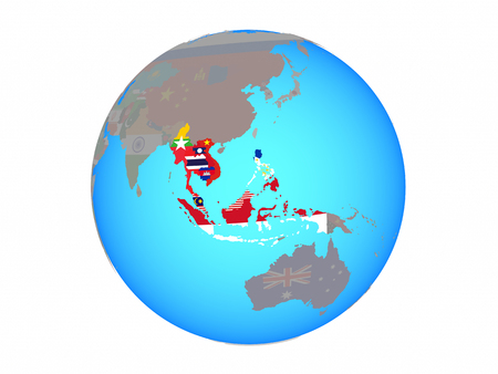 South East Asia states with national flags on blue political globe. 3D illustration isolated on white background.