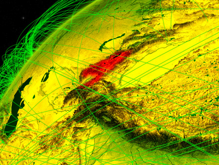 Kyrgyzstan on model of green planet Earth with international networks. Concept of digital communication and technology. 3D illustration. Stock Photo