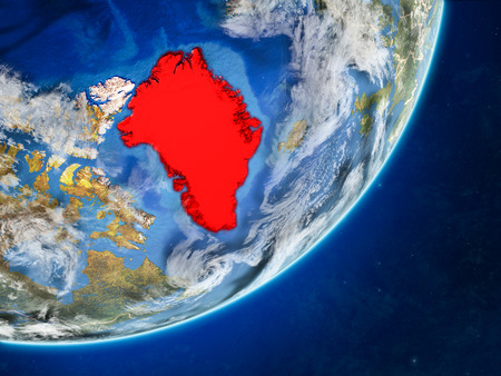 Greenland on model of planet Earth with country borders and very detailed planet surface and clouds. 3D illustration.