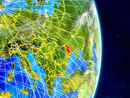 Moldova on planet Earth with networks. Extremely detailed planet surface and clouds. 3D illustration.