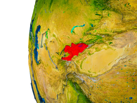 Kyrgyzstan highlighted on 3D Earth with visible countries and watery oceans. 3D illustration.
