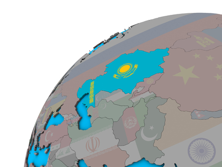Kazakhstan with national flag on 3D globe. 3D illustration.