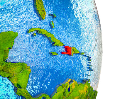 Haiti on 3D model of Earth with divided countries and blue oceans. 3D illustration.