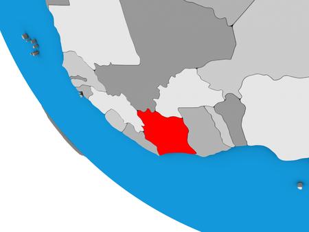 Ivory Coast on simple 3D globe. 3D illustration. Stockfoto