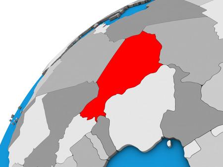 Niger on 3D globe. 3D illustration.