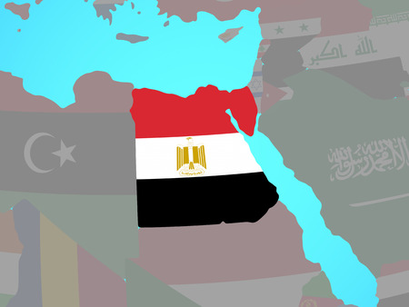 Egypt with national flag on blue political globe. 3D illustration.