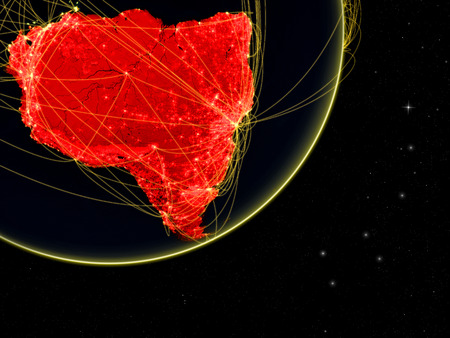 South America on dark Earth with network. Concept of connectivity. May represent air traffic, internet or telecommunications. 3D illustration.