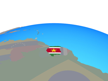 Suriname with national flag on political globe. 3D illustration.