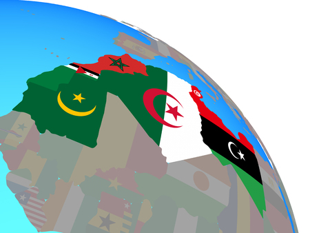 Maghreb region with national flags on simple blue political globe. 3D illustration. 写真素材