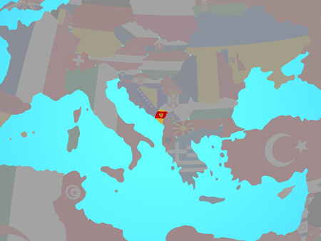 Montenegro with national flag on blue political globe. 3D illustration. 스톡 콘텐츠