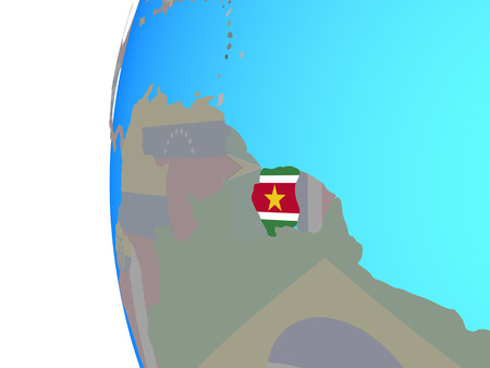 Suriname with embedded national flag on blue political globe. 3D illustration.