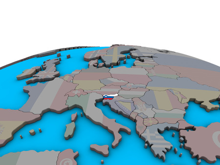 Slovenia with embedded national flag on political 3D globe. 3D illustration.
